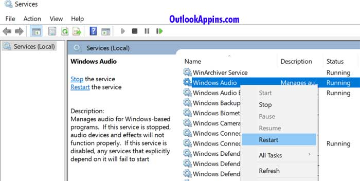 restart windows audio services windows 10