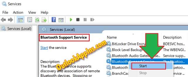 start bluetooth support service windows 10