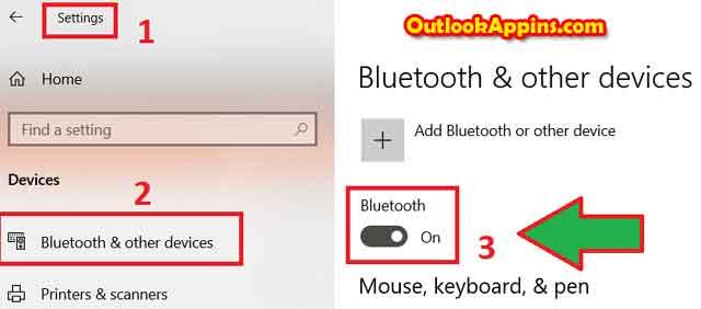 turn on bluetooth windows 10