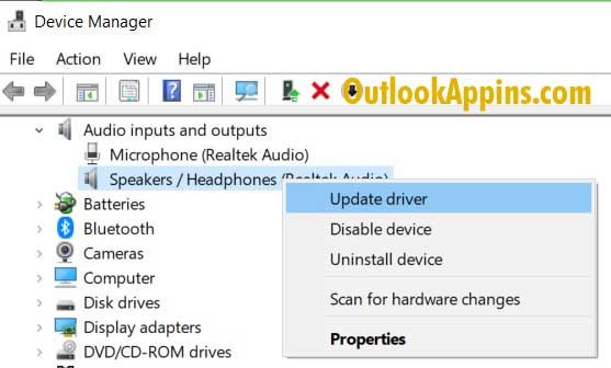 update audio inputs and outputs windows 10