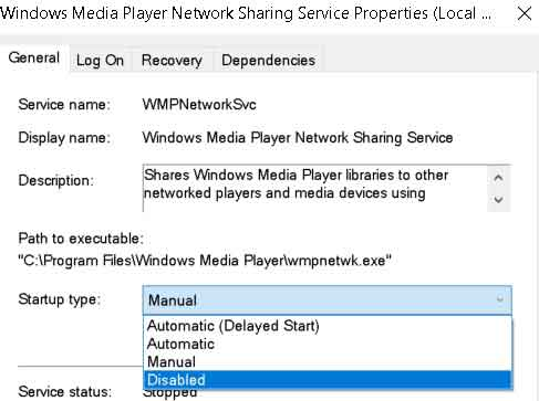 disable windows media player network sharing service properties