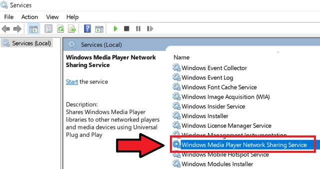 find windows media player network sharing service