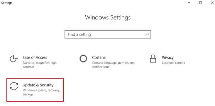 how to open update & security windows 10