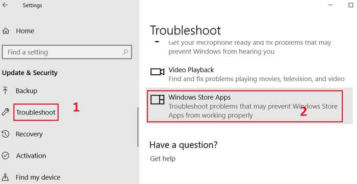 troubleshoot windows store apps
