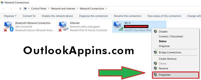 open wifi properties windows 10 network connections