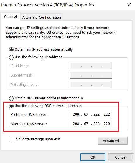 preferred and alternate dns server addresses - fix dns server not responding error