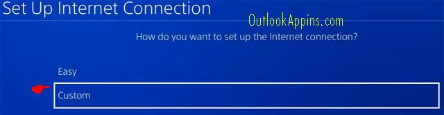 custom internet connection ps4