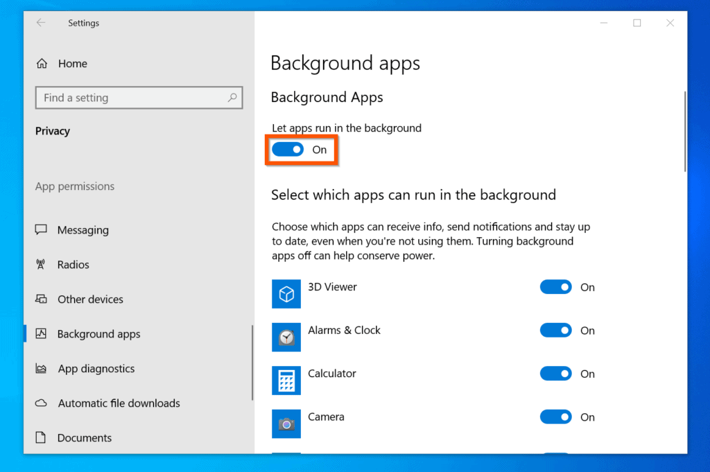 Background apps on
